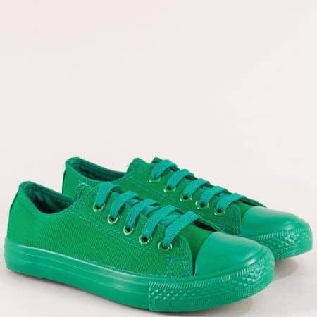 Детски кецове с връзки в зелен цвят на равно ходило 343-35z