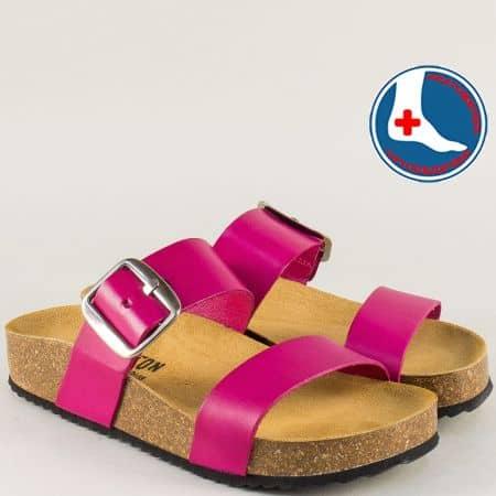Цикламени дамски чехли от естествена кожа на анатомично ходило- PLAKTON 343004ck