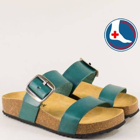 Зелени дамски чехли от естествена кожа- PLAKTON 343004tz