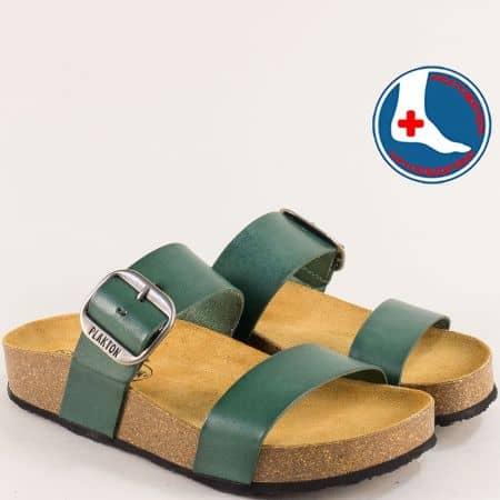 Ортопедични дамски чехли от естествена кожа в зелено- PLAKTON 343004z