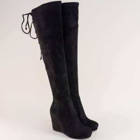 Дамски ботуши над коляното на платформа в черен цвят 343776nch