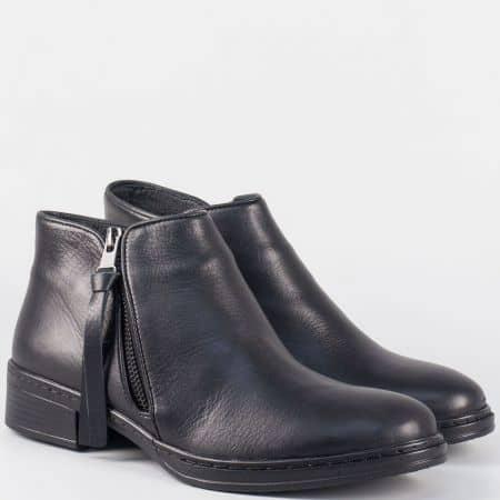 Черни дамски боти от естествена кожа на нисък ток 344032ch
