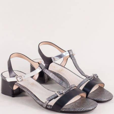 Черни дамски сандали на нисък ток с кожена стелка 345111603ch