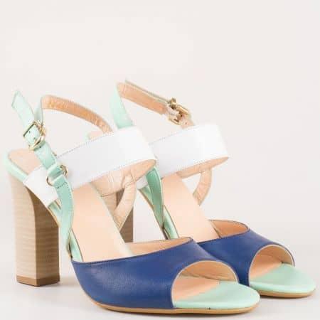 Интересни дамски сандали в бяло, зелено и синьо на висок ток от естествена кожа изцяло 34514147s