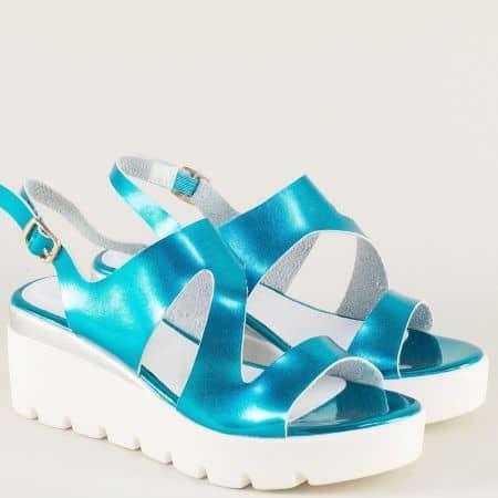 Дамски сандали на висока платформа в син цвят 34675ls