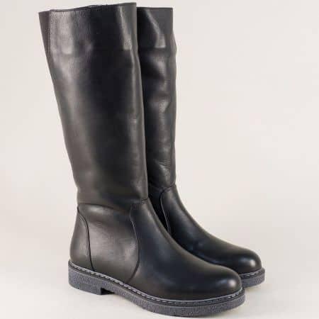 Дамски ботуши от естествена кожа в черен цвят на равно ходило 347418ch