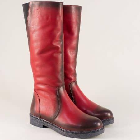 Шити дамски ботуши от червена естествена кожа 347418chv