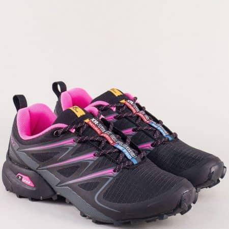 Дамски маратонки с връзки в розово и черно- Knup 3481-40chrz