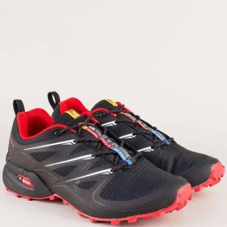 Модерни мъжки маратонки Knup в черен и червен цвят 3481-45chchv