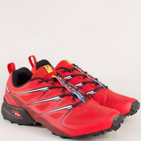 Спортни мъжки обувки с връзки в червен цвят- Knup 3481-45chv