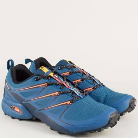 Мъжки маратонки в син и цвят оранж на комфортно ходило 3481-45so