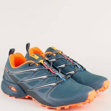Равни мъжки маратонки в цин и цвят оранж 3481-45svo