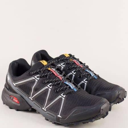 Мъжки маратонки в черно и бяло- KNUP 3482-45ch