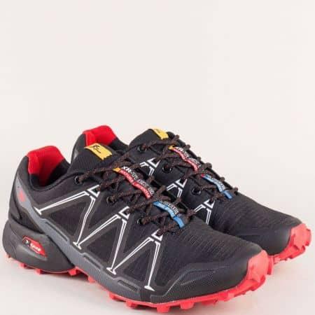 Мъжки маратонки в черно и червено- KNUP 3482-45chchv