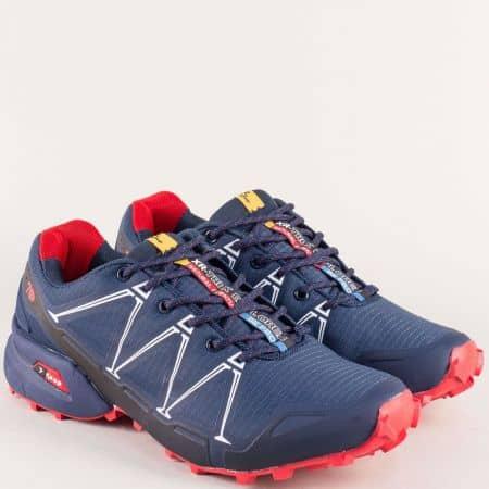 Мъжки маратонки в червено и синьо- KNUP 3482-45ss