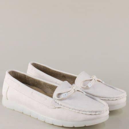 Бели дамски обувки на равно ходило с панделка 3503b