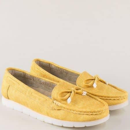 Дамски обувки в жълт цвят на равно ходило 3503j