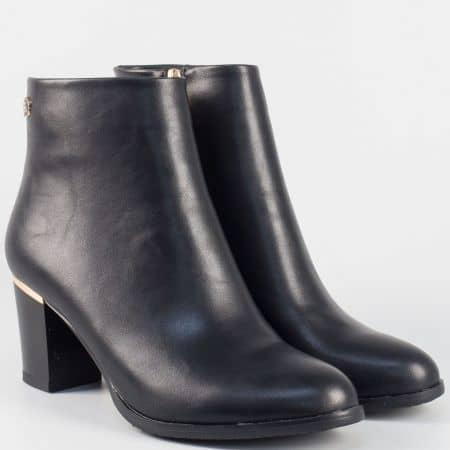 Дамски класически боти на висок ток- Eliza в черен цвят 35176ch