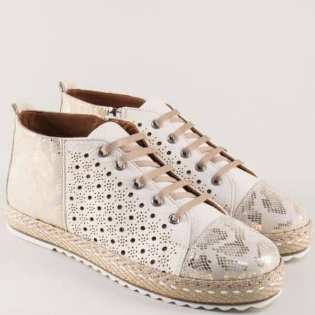 Шити дамски обувки с връзки и кожена стелка в бежово 352bj