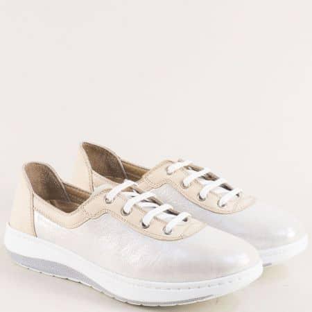 Бежови спортни дамски обувки от естествена кожа на меко ходило 3534710sbj