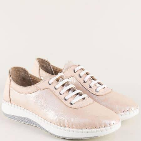 Ортопедични дамски обувки с връзки в розов цвят 3534rz