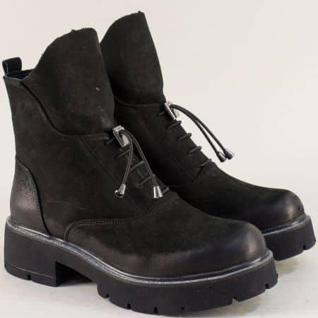 Черни дамски боти от естествен набук на нисък ток  35537nch