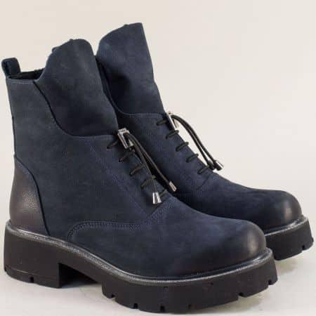 Тъмно сини дамски боти с цип и ластични връзки 35537ns