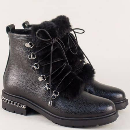 Кожени дамски боти на комфортно ходило в черен цвят 3562ch