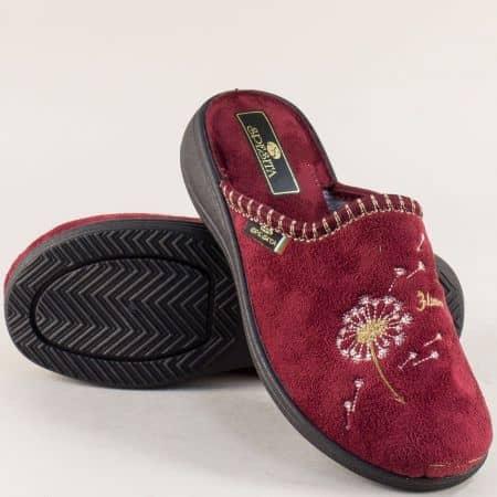 Дамски домашни пантофи в цвят бордо- Spesita 356bd