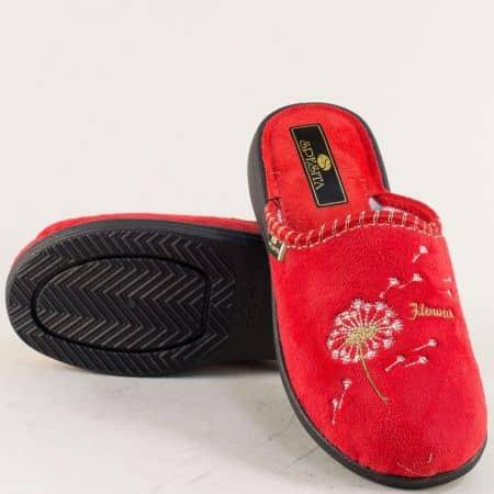 Дамски домашни пантофи с топъл хастар в червен цвят 356chv