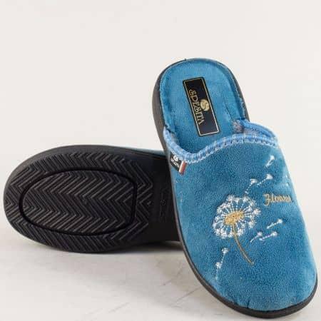 Дамски домашни чехли в син цвят с топъл хастар 356s