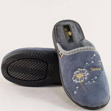 Дамски домашни чехли с повдигната пета в сив цвят  356sv