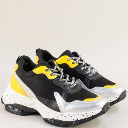 Дамски маратонки в жълто, черно и сребро на платформа 36090chps