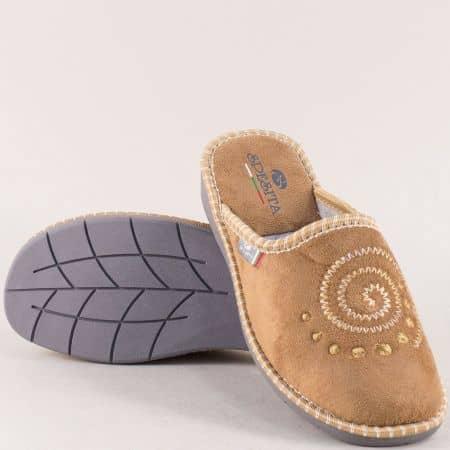 Дамски домашни чехли в бежов цвят с топъл хастар 363bj