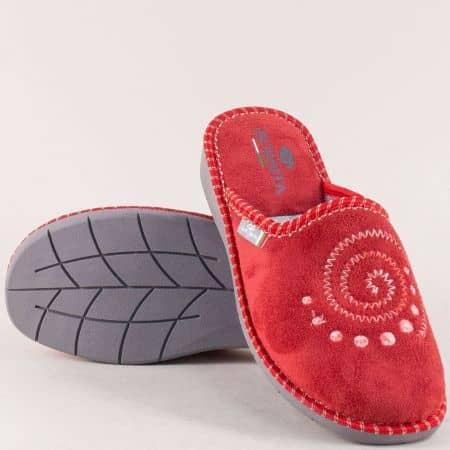 Дамски домашни чехли в червен цвят с топъл хастар 363chv