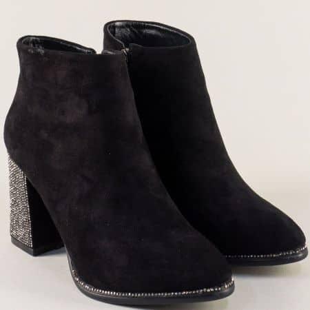 Черни дамски боти на луксозен висок ток с камъчета 365112nch