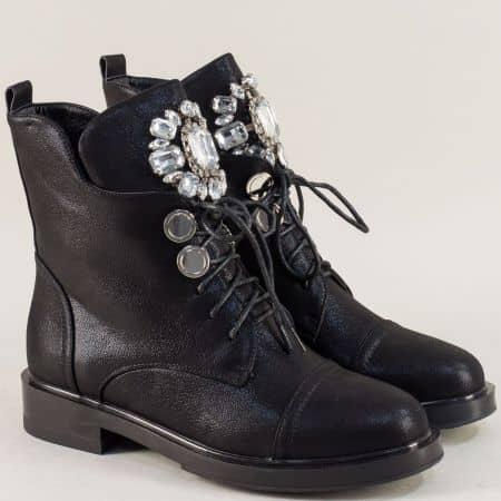 Дамски боти с цип и връзки на нисък ток в черен цвят 36889sch