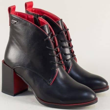 Черни дамски боти с червени елементи на висок ток 36898ch