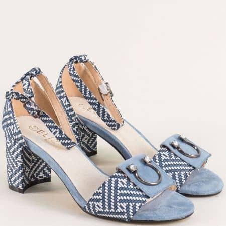 Сини дамски сандали със затворена пета на среден ток 371s