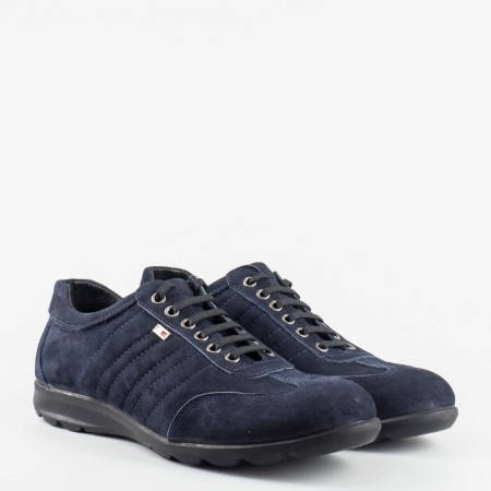 Мъжки ежедневни обувки с връзки от син набук 373ns