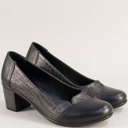 Черни дамски обувки на среден ток от естествена ефектна кожа 3806chbrz
