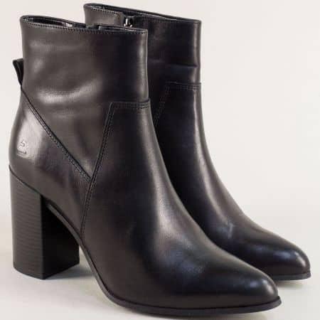 Черни дамски боти от естествена кожа на висок ток 381500ch
