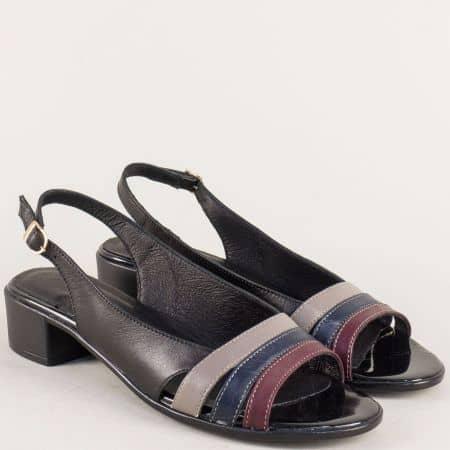 Кожени дамски сандали в бордо, синьо, сиво и черно  38302ps