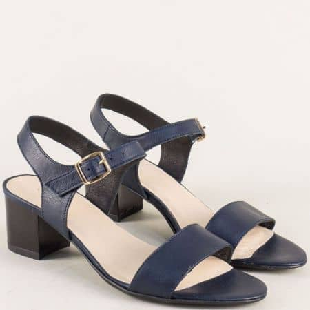 Сини дамски сандали на среден ток от естествена кожа 38205s
