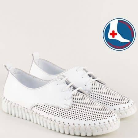 Ортопедични дамски обувки от бяла естествена кожа 382b