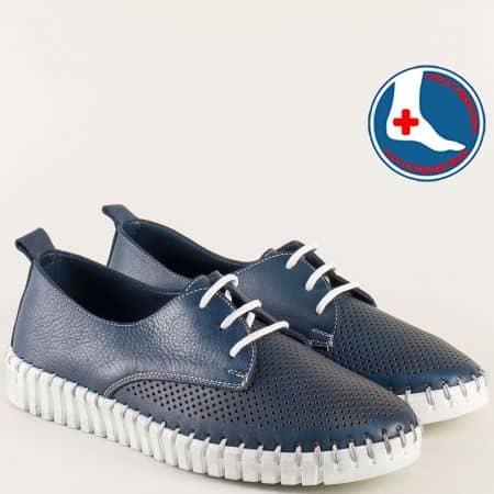 Сини дамски обувки с перфорация на бяло ходило 382s