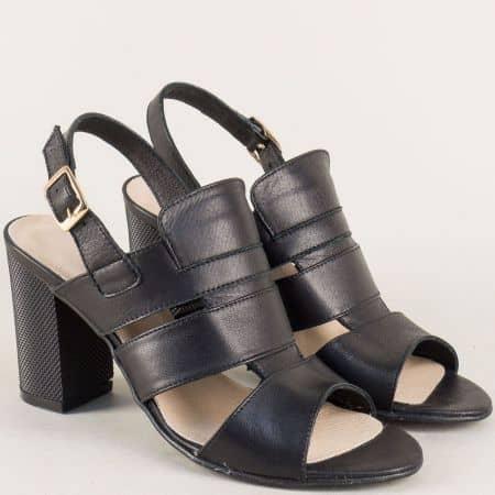 Черни дамски сандали на висок ток от естествена кожа 38408ch