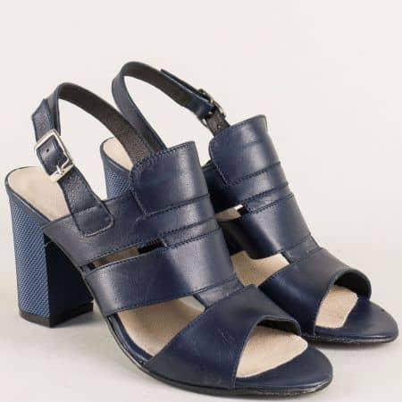 Тъмно сини дамски сандали от естествена кожа на висок стабилен ток 38408s