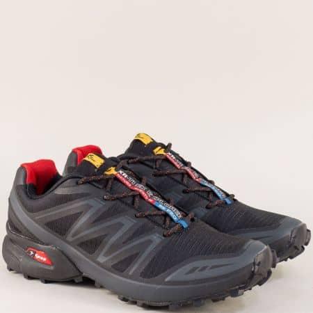 Спортни мъжки обувки с връзки в черен цвят- Knup 3871-45chsv