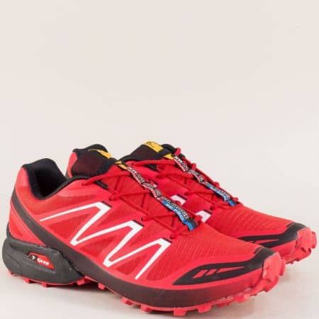 Спортни мъжки обувки в червен цвят с връзки- Knup 3871-45chv